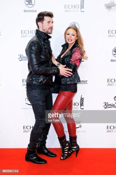 German presenter and actor Thore Schoelermann and his girlfriend german actress Jana Julie Kilka during the Echo award red carpet on April 6 2017 in...