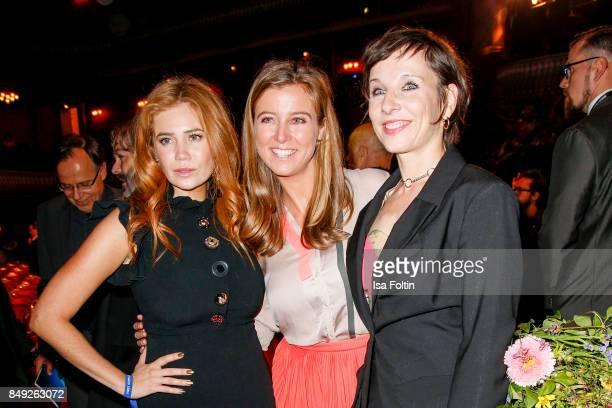 German presenter and actress Palina Rojinski German presenter Nina Eichinger and German actress Meret Becker attend the First Steps Awards 2017 at...