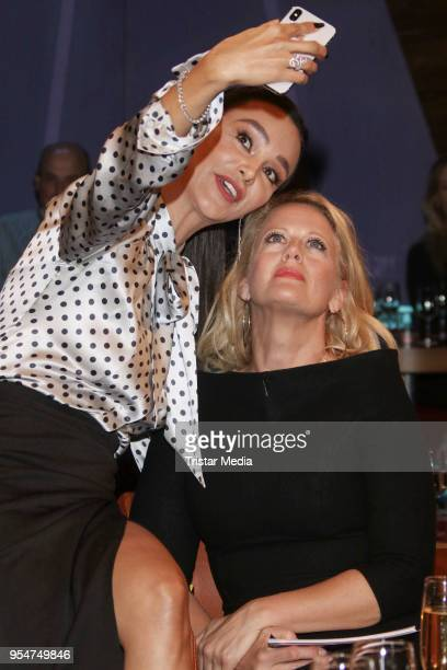German presenter and advertising icon Verona Pooth and German presenter Barbara Schoeneberger during the NDR Talk Show on May 4 2018 in Hamburg...