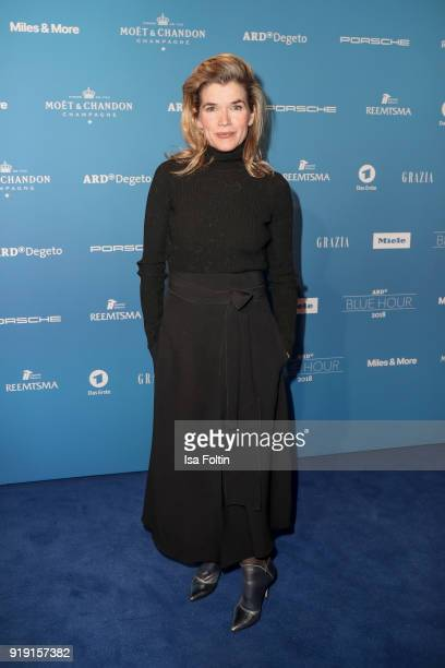 German presenter and comedian Anke Engelke attends the Blue Hour Reception hosted by ARD during the 68th Berlinale International Film Festival Berlin...