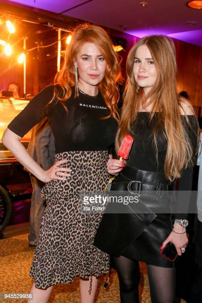 German presenter and model Palina Rojinski and her sister Vivienne Maria Rojinski during the Echo Award after show party at Palais am Funkturm on...