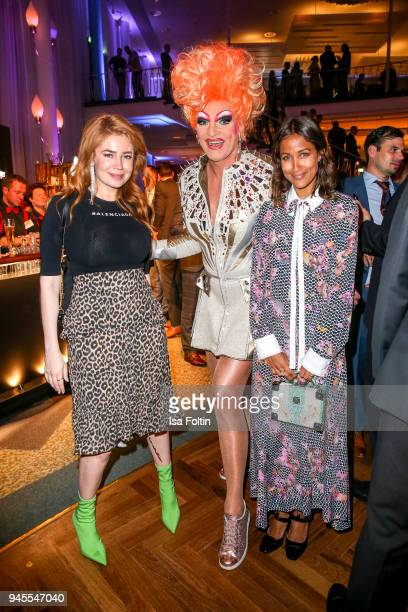 German presenter and model Palina Rojinski Drag Queen Olivia Jones and Rabea Schif during the Echo Award after show party at Palais am Funkturm on...