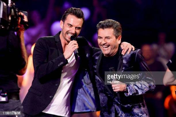 German presenter and singer Florian Silbereisen and German singer Thomas Anders perform during the television show Schlagerchampions Das grosse Fest...