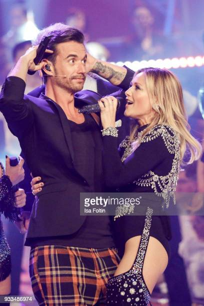 German presenter and singer Florian Silbereisen and his girlfriend German singer Helene Fischer during the tv show 'Heimlich Die grosse...