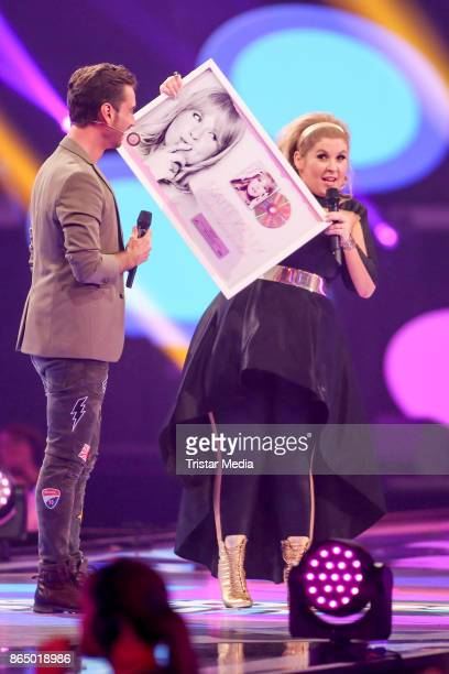 German presenter and singer Florian Silbereisen and Irish singer Maite Kelly during the 'Schlagerboom Das Internationale Schlagerfest' at...