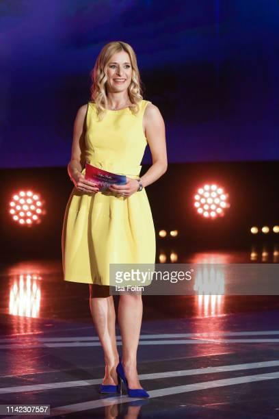 German presenter and singer Stefanie Hertel during the tv show Stefanie Hertel Die grosse Show zum Muttertag on May 8 2019 in Altenberg Germany