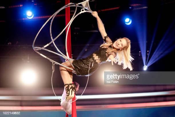 German presenter and singer Stefanie Hertel during the tv show 'Stefanie Hertel Meine Stars' on August 23 2018 in Zwickau Germany