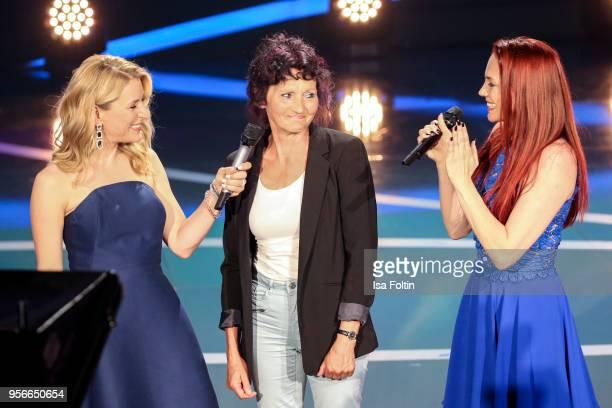 German presenter and singer Stefanie Hertel with Kerstin Merlin and her mother during the tv show 'Stefanie Hertel Die grosse Show zum Muttertag' on...