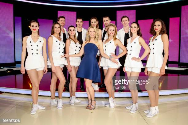 German presenter and singer Stefanie Hertel with the German TV ballet during the tv show 'Stefanie Hertel Die grosse Show zum Muttertag' on May 8...