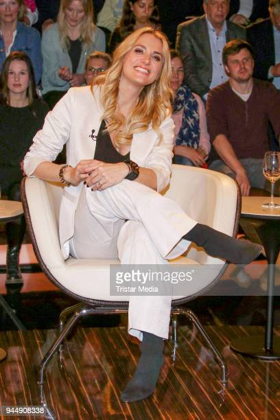 German presenter Anna Kraft during the 'Markus Lanz' TV Show on April 11 2018 in Hamburg Germany
