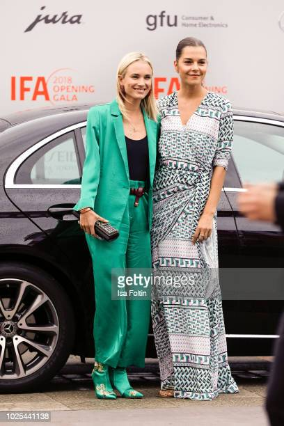 German presenter Annie Hoffmann and Susan Hoecke attend the IFA 2018 opening gala on August 31 2018 in Berlin Germany