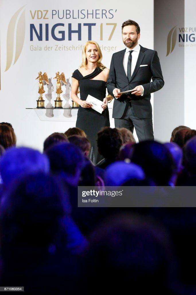 German presenter Astrid Frohloff and German presenter Ingo Nommsen during the VDZ Publishers' Night at Deutsche Telekom's representative office on November 6, 2017 in Berlin, Germany.