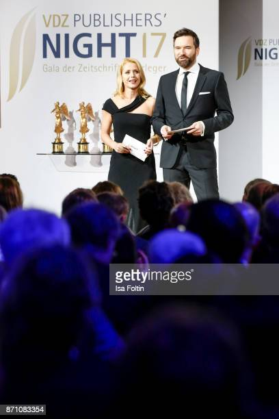 German presenter Astrid Frohloff and German presenter Ingo Nommsen during the VDZ Publishers' Night at Deutsche Telekom's representative office on...