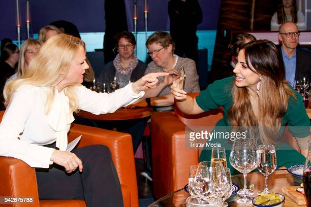 German presenter Barbara Schoeneberger and Comedian Enissa Amani during the NDR Talk Show on April 6, 2018 in Hamburg, Germany.