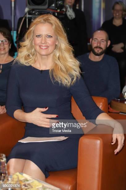 German presenter Barbara Schoeneberger attends the NDR Talk Show on March 9 2018 in Hamburg Germany