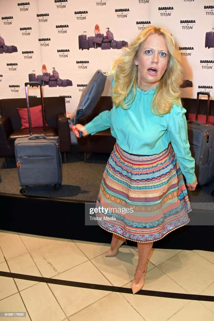 German presenter Barbara Schoeneberger during the preview of her Titan luggage collection at Karstadt on April 19, 2018 in Leipzig, Germany.