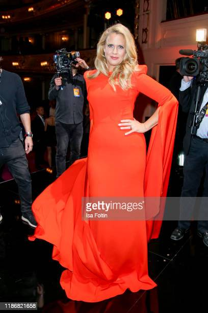 German presenter Barbara Schoeneberger is seen on stage during the GQ Men of the Year Award show at Komische Oper on November 7 2019 in Berlin Germany