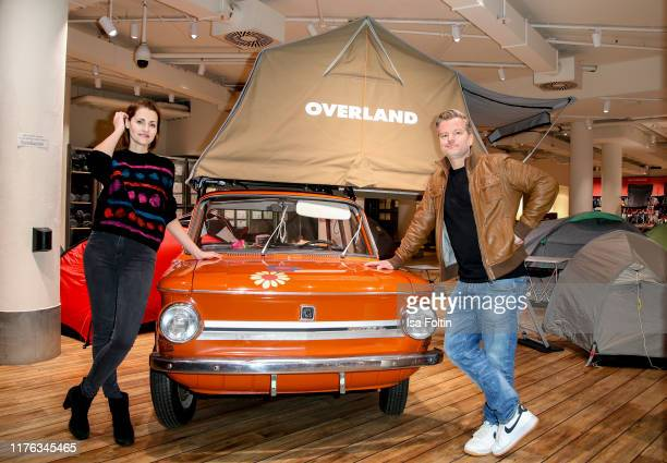 German presenter Bella Lesnik and German actor Andre Dietz during the Globetrotter celebrates 40th Anniversary event on October 17 2019 in Cologne...