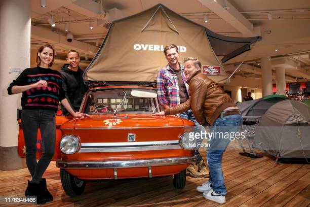 German presenter Bella Lesnik TV Bachelor Andrej Mangold German actor Simon Boeer and German actor Andre Dietz during the Globetrotter celebrates...