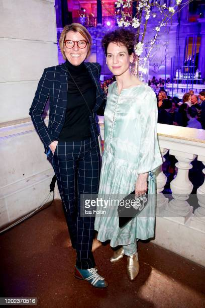 German presenter Bettina Boettinger and German actress Bibiana Beglau attend the Blue Hour Party hosted by ARD during the 70th Berlinale...