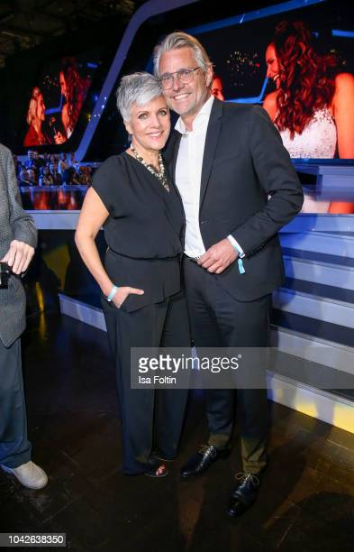 German presenter Birgit Schrowange and Frank Spothelfer during the Goldene Henne on September 28 2018 in Leipzig Germany