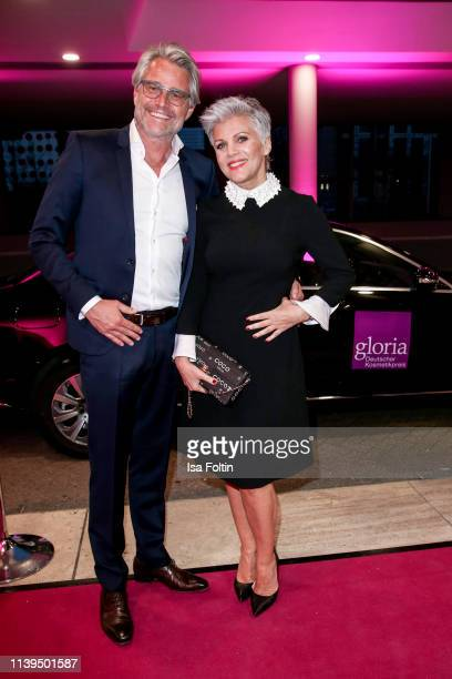 German presenter Birgit Schrowange and her partner Frank Spothelfer attend the Gloria Deutscher Kosmetikpreis at Hilton Hotel on March 30 2019 in...
