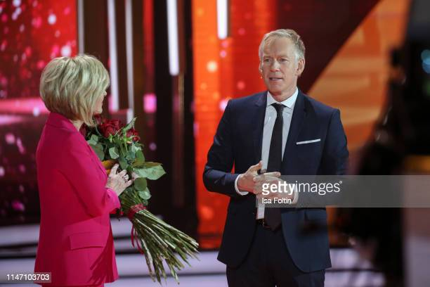 German presenter Carmen Nebel and German presenter Johannes B Kerner during the television show 'Willkommen bei Carmen Nebel' at Velodrom on May 4...