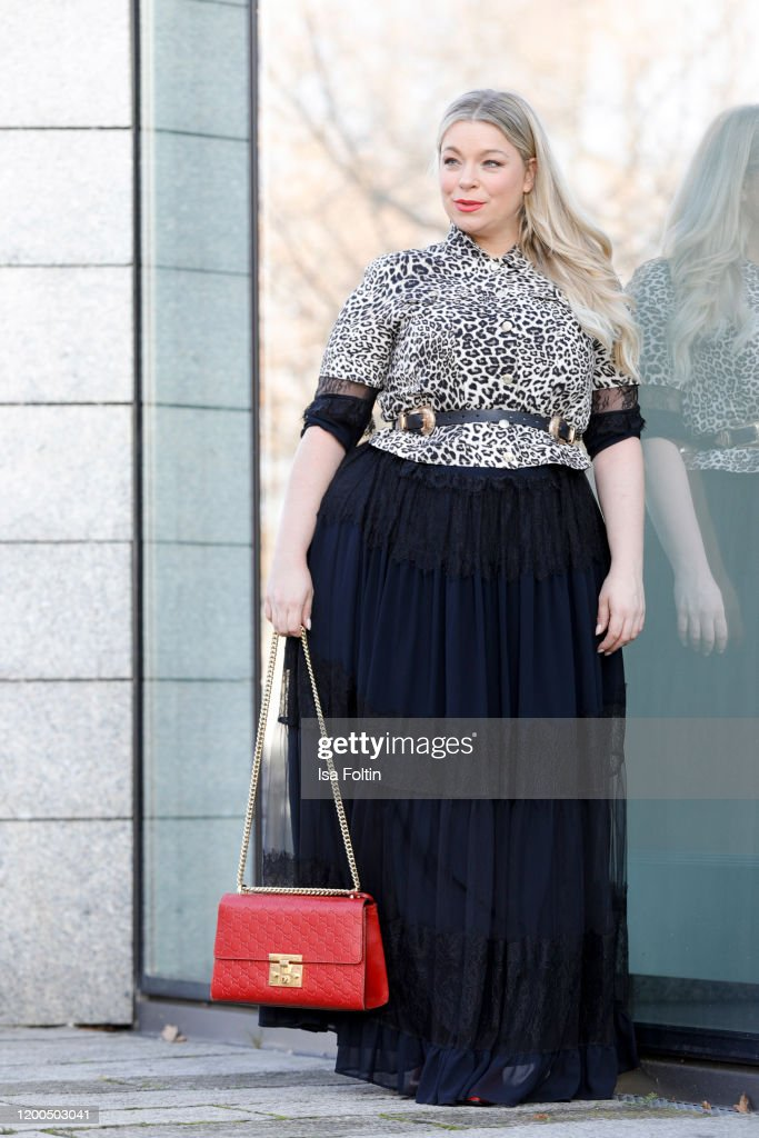 German presenter, curvy model and plus size influencer wearing a Nachrichtenfoto - Getty Images