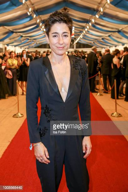 German presenter Dunja Hayali attends the Bayreuth Festival 2018 state reception at Neues Schloss on July 25 2018 in Bayreuth Germany