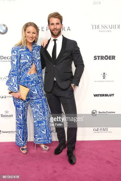 German presenter Evelyn Weigert and model Andre Hamann during the Duftstars at Flughafen Tempelhof on April 25 2018 in Berlin Germany