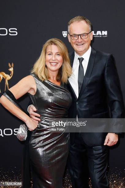 German presenter Frank Plasberg and his wife Anne Gesthuysen arrive for the 71st Bambi Awards at Festspielhaus BadenBaden on November 21 2019 in...