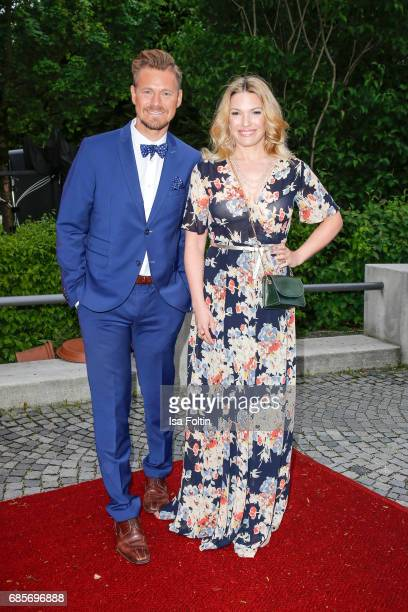 German presenter Gregor Teicher and German presenter Jessica Kastrop attend the Bayerischer Fernsehpreis 2017 at Prinzregententheater on May 19, 2017...