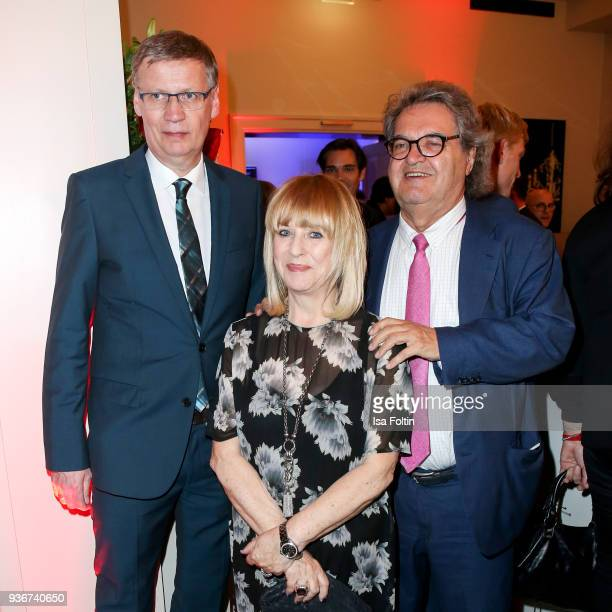 German presenter Guenther Jauch Patricia Riekel and Helmut Markwort during the Reemtsma Liberty Award 2018 on March 22 2018 in Berlin Germany