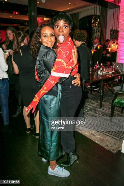 German presenter Hadnet Tesfai and Dancer Nikeata Thompson during the Bunte New Faces Night at Grace Hotel Zoo on January 15 2018 in Berlin Germany