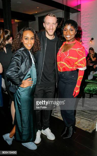 German presenter Hadnet Tesfai Dancer Nikeata Thompson and a Adidas manager during the Bunte New Faces Night at Grace Hotel Zoo on January 15 2018 in...