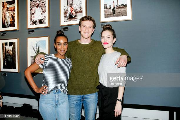 German presenter Hadnet Tesfai German actor Artjom Gilz and German actress and Blogger Marielena Krewer during the exhibition opening 'PortrAid Get...
