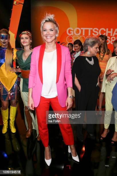 German presenter Inka Bause during the tv show 'Gottschalks grosse 68er Show' on September 6, 2018 in Hamburg, Germany.