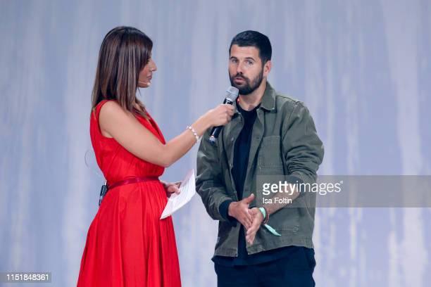 German presenter Jana Azizi and British singer Nick Mulvey during the Green Award as part of the Greentech Festival at Tempelhof Airport on May 24...