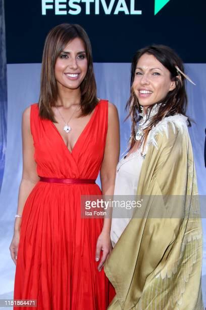 German presenter Jana Azizi and German actress Jana Pallaske during the Green Award as part of the Greentech Festival at Tempelhof Airport on May 24...