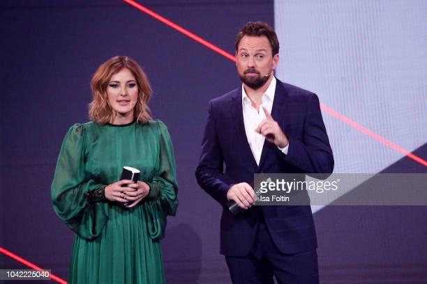 German presenter Jeannine Michaelsen and German presenter Steven Gaetjen attend the YouTube Goldene Kamera Digital Award at Kraftwerk Mitte on...