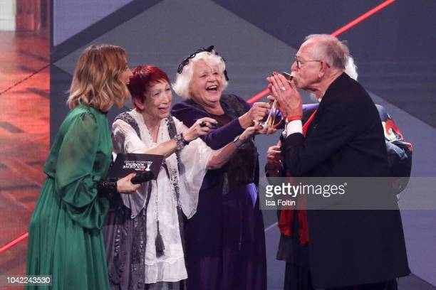 German presenter Jeannine Michaelsen with the Youtube stars and award winner Evelyn Gundlach, Ursula Cezanne, Melita Moritz and Peter Zeidler alias...