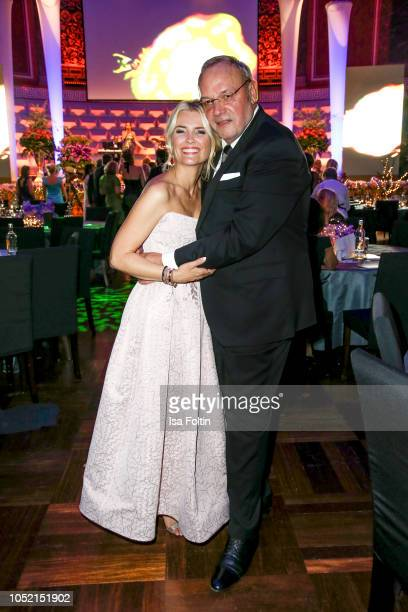 German presenter Jennifer Knaeble and Erhard Priewe during the 9th VITA Charity Gala at Kurhaus Wiesbaden on October 13 2018 in Wiesbaden Germany