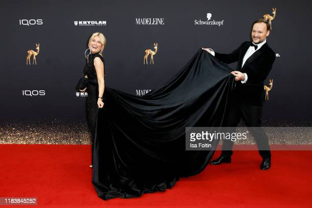German presenter Jennifer Knaeble and her husband DJ Felix Moese arrive for the 71st Bambi Awards at Festspielhaus BadenBaden on November 21 2019 in...
