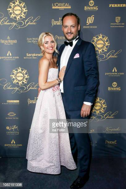 German presenter Jennifer Knaeble and her husband German Radio presenter Felix Moese during the 9th VITA Charity Gala at Kurhaus Wiesbaden on October...
