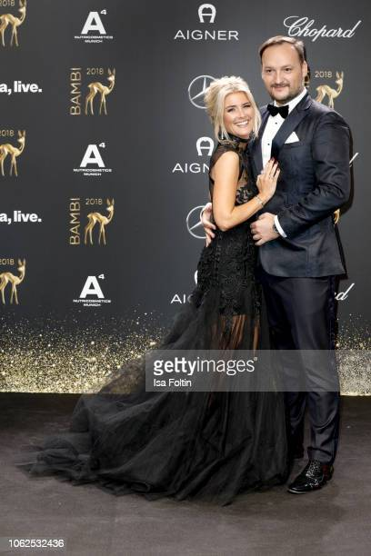 German presenter Jennifer Knaeble andher husband Radio presenter Felix Moese attend the 70th Bambi Awards at Stage Theater on November 16 2018 in...