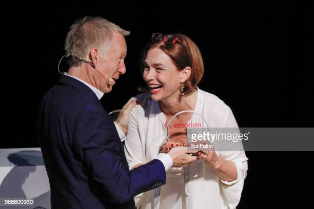 German presenter Johannes B Kerner and Austrian actress Aglaia Szyszkowitz during the Emotion Award at Curio Haus on June 28 2018 in Hamburg Germany