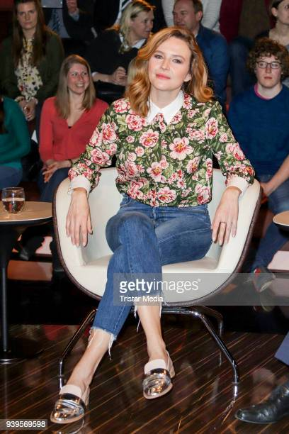 German presenter Katrin Bauerfeind during the 'Markus Lanz' TV show on March 28 2018 in Hamburg Germany
