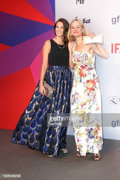German presenter Katrin Wrobel and German actress Annett Fleischer attend the IFA 2018 opening gala on August 31 2018 in Berlin Germany