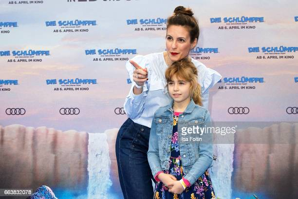 German presenter Katrin Wrobel and her daughter Louisa Wrobel during the 'Die Schluempfe Das verlorene Dorf' premiere at Sony Centre on April 2 2017...