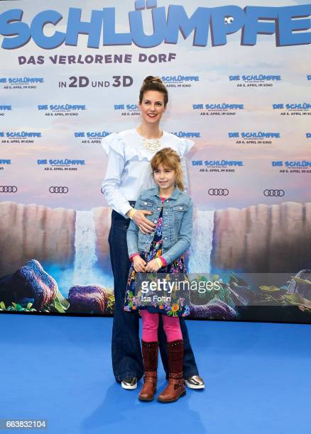 German presenter Katrin Wrobel and her daughter Louisa Wrobel during the 'Die Schluempfe Das verlorene Dorf' premiere at Sony Centre on April 2 2017...